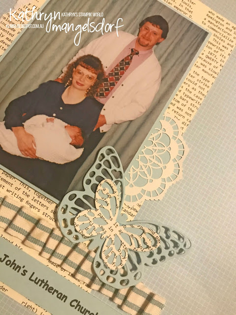 Stampin' Up! Bold Butterfly Framelits, Butterflies Thinlits, Lace Doilies, Scrapbooking Page created by Kathryn Mangelsdorf
