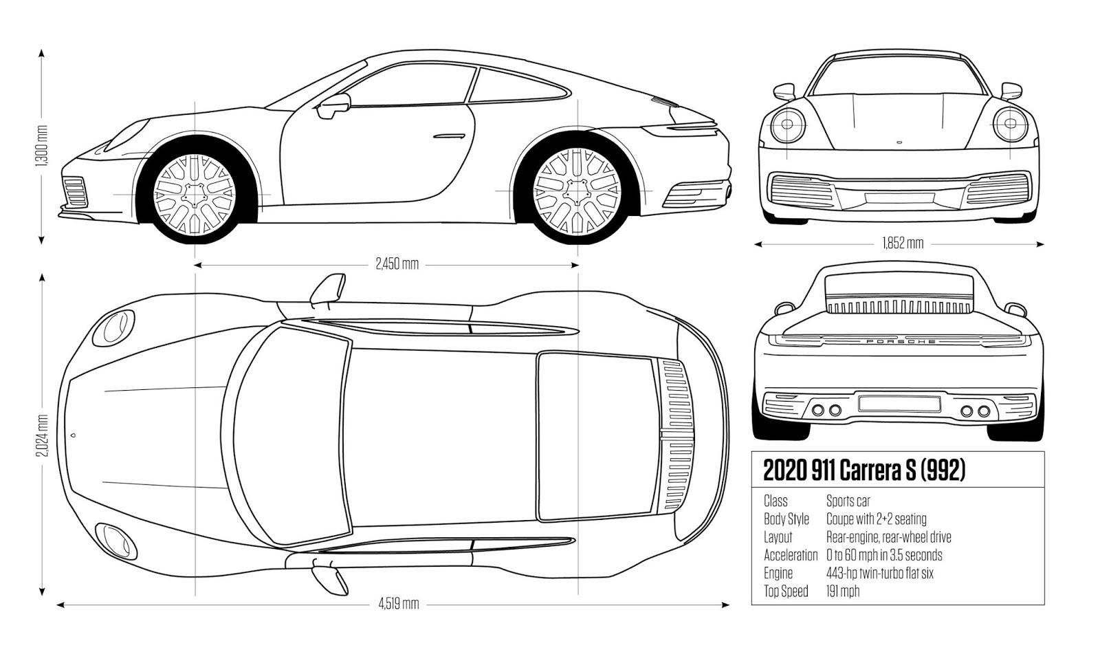 Porsche Drive Run Amp Ride 992 Blueprint Sketch