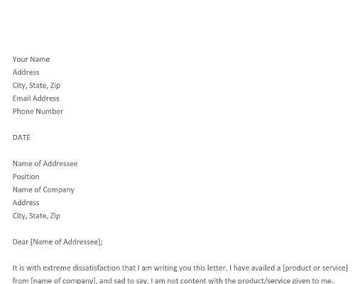 Business Complaint Letter