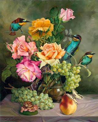 flores-animales-frutas-naturaleza-muerta