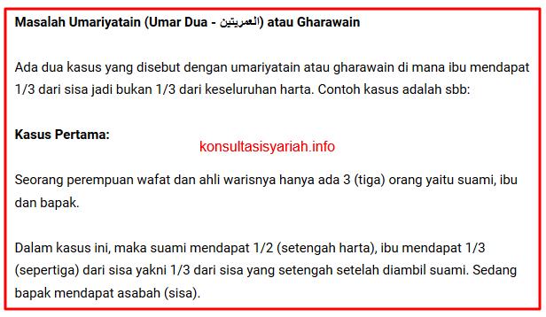 Umariyatain Gharawain dalam Hukum Waris