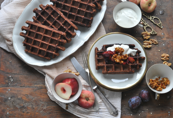 Belgian Waffels with nuts and chocolate, a deicious gluten free treat for the whole family