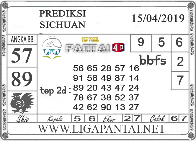 """Prediksi Togel """"SICHUAN"""" PANTAI4D 15 APRIL 2019"""