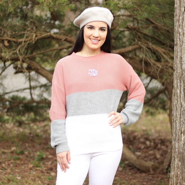 Shein Pink and Grey Color Block Sweater