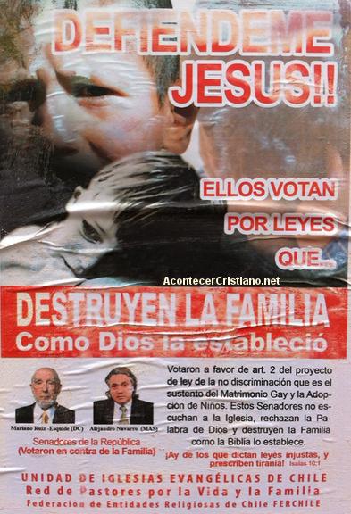 Evangélicos rechazan a senadores chilenos por medio de afiches