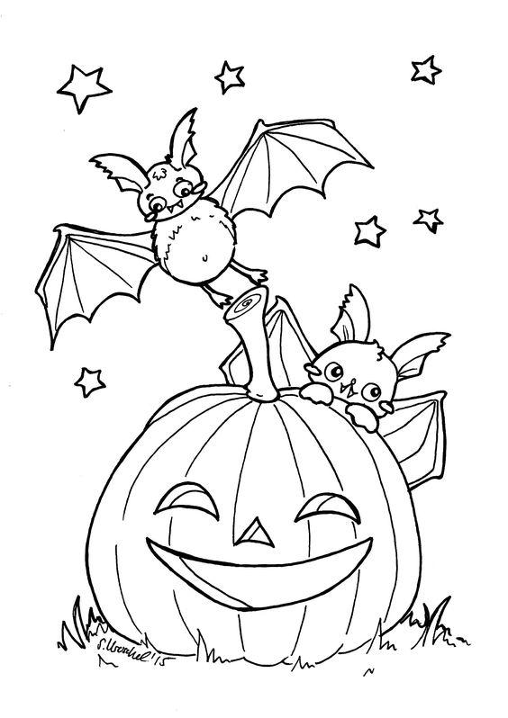 Tranh tô màu quả bí ngô Halloween và con dơi