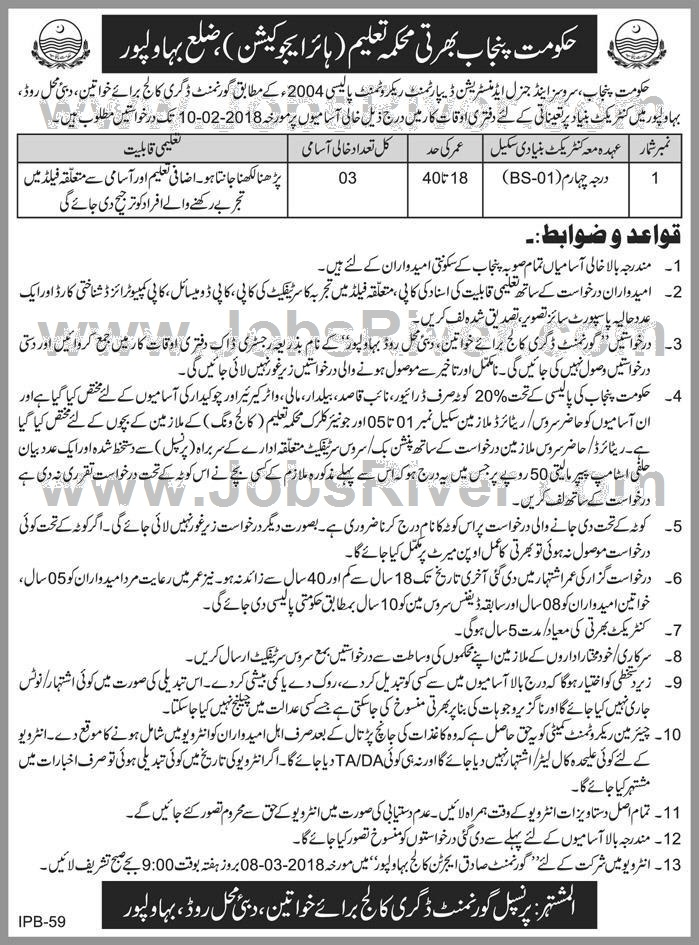 Jobs In Higher Education Department Bahawalpur 2018