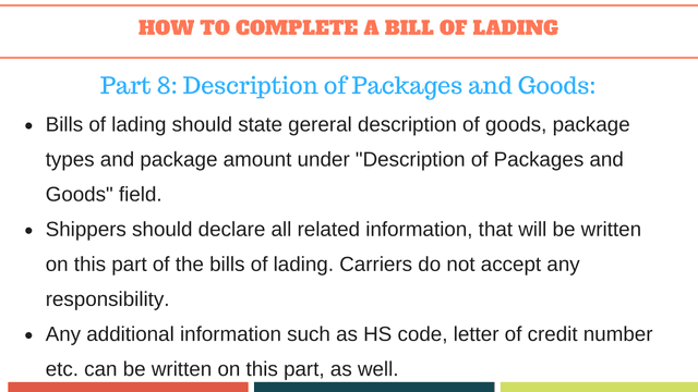 How to complete a bill of lading | Description of goods