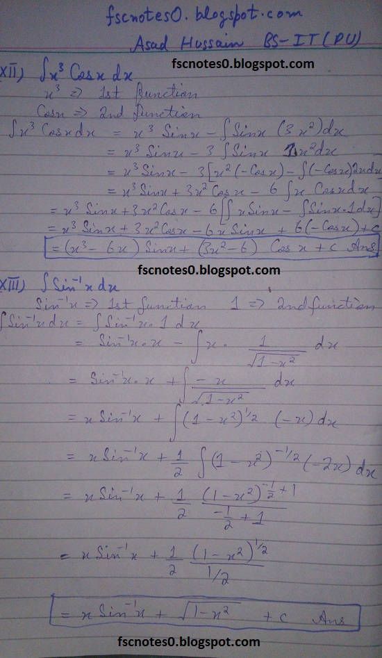 FSc ICS Notes Math Part 2 Chapter 3 Integration Exercise 3.4 Question 1 Asad Hussain 6