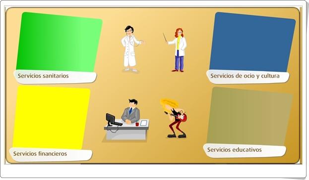 """""""Tipos de servicios"""" (Juego de Ciencias Sociales de Primaria)"""