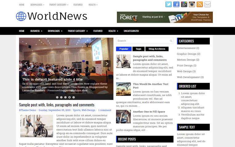 WorldNews Free Blogger Template