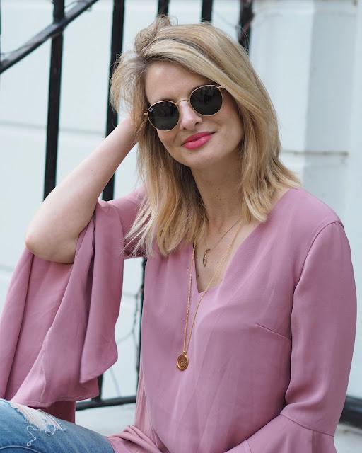 rayban round sunglasses, bell sleev top, keepsake faithful mini dress, daisy london necklace