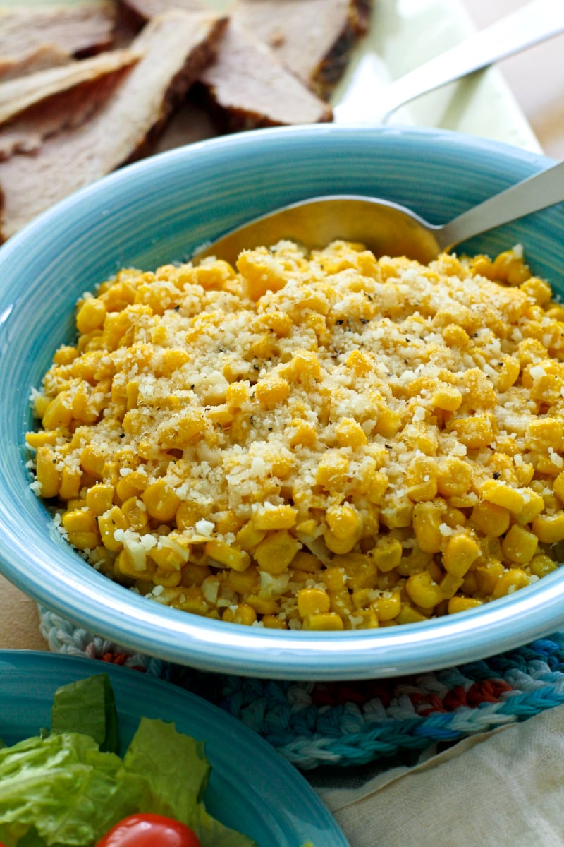 This Brown Butter Parmesan Corn recipe transforms canned corn into a holiday-worthy side dish in just minutes!  #corn #sidedish #brownbutter