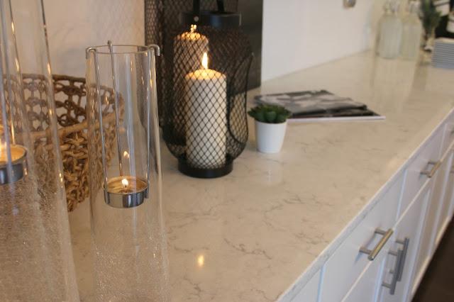 LG Viatera-quartz-Minuet-countertop-white-kitchen-candles