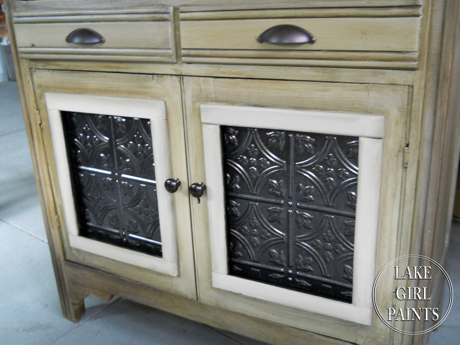 Lake Girl Paints Honey Colored Cabinet With Rustic Charm