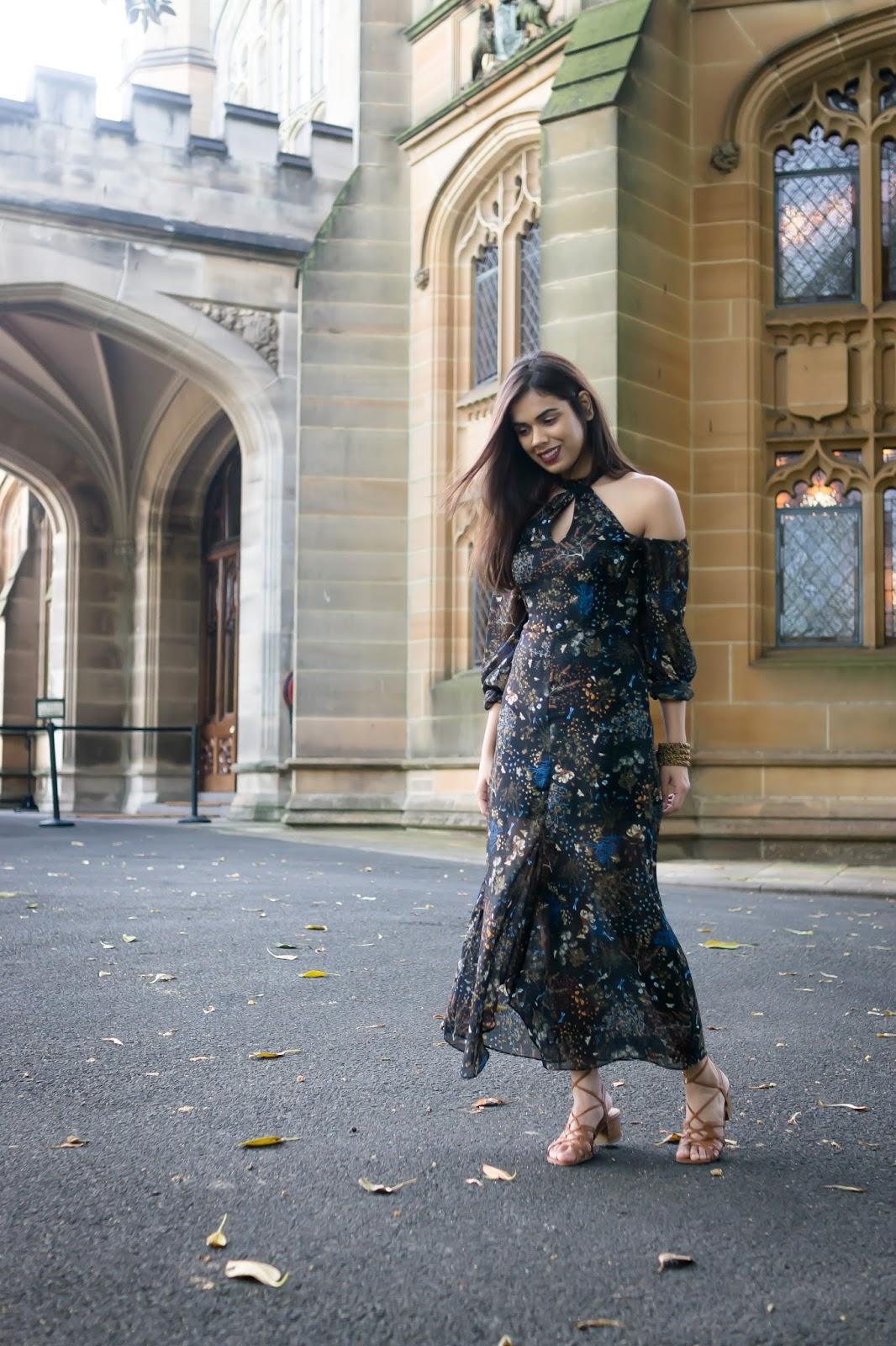 Cutout Shoulder Maxi Dress
