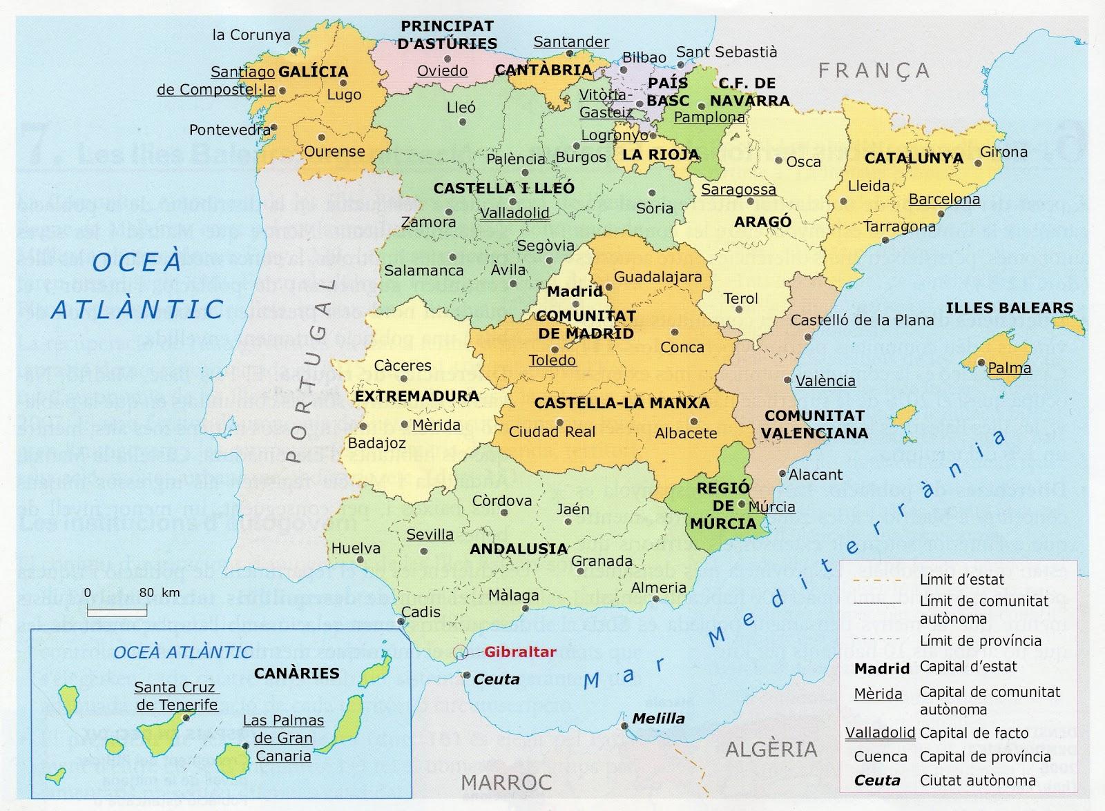 Hi Ha Trenques Ferm Mapa Politic Espanya