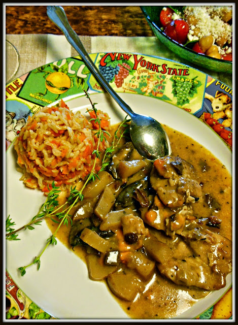 Rustic Chicken Medallions with sipping gravy, serve with mashed potatoes or rice.
