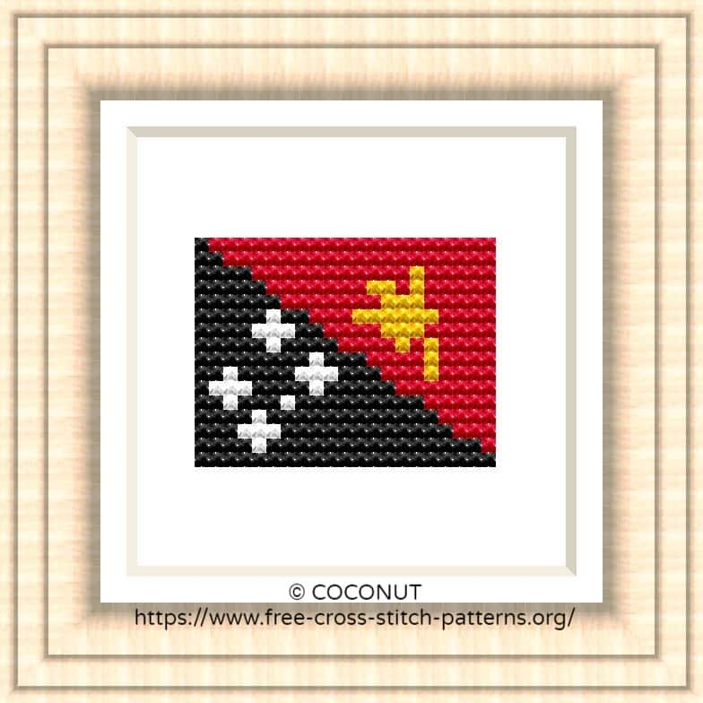 NATIONAL FLAG OF PAPUA NEW GUINEA CROSS STITCH CHART