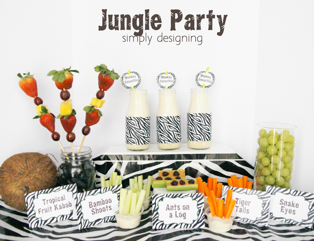 Jungle Party | have a healthy Jungle-themed party | Jungle party themed food ideas | FREE jungle-themed printables | #party #junglefresh #shop #printables #smoothie #recipe
