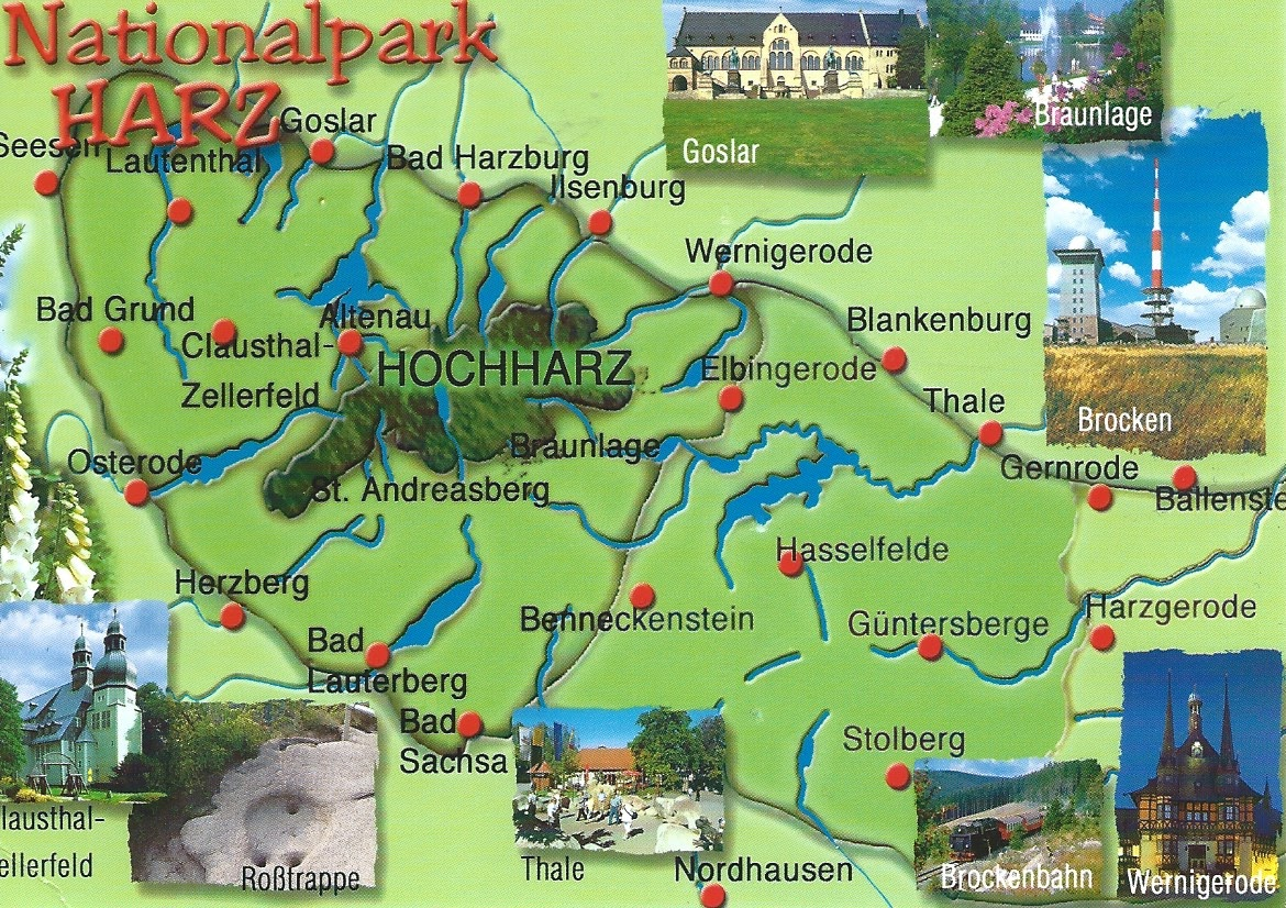 Map Of Germany Mountains.My Postcard Page Germany Map National Park Harz