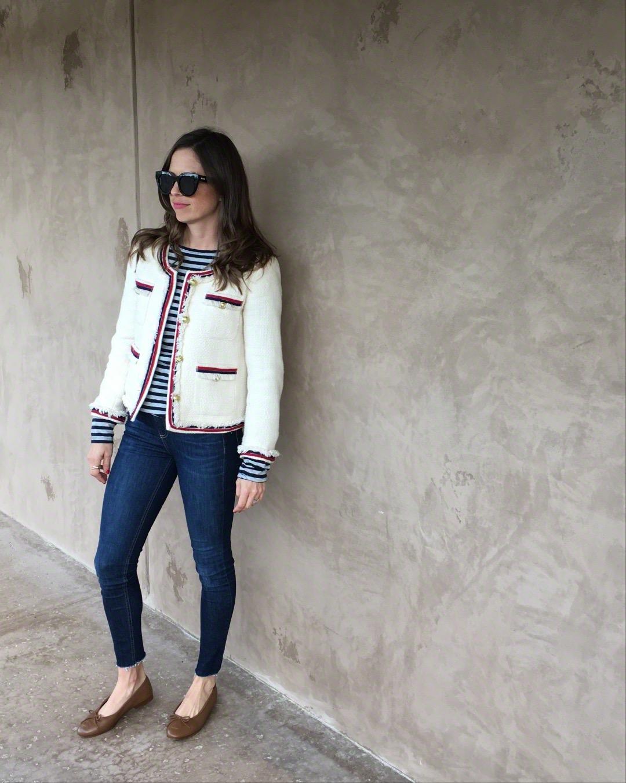 tweed jacket and chanel flats