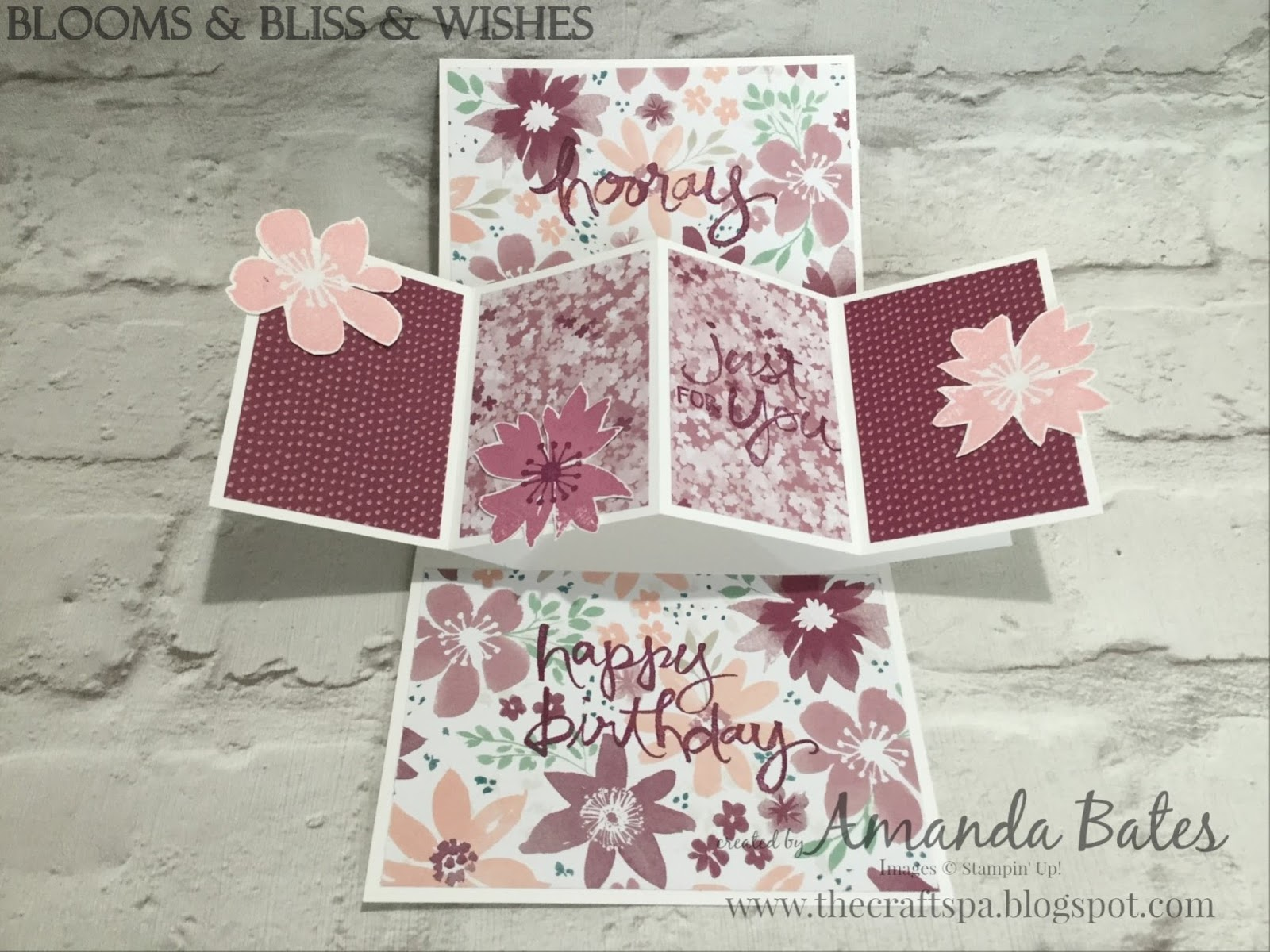the craft spa stampin 39 up uk independent demonstrator blooms bliss wishes square pop up. Black Bedroom Furniture Sets. Home Design Ideas
