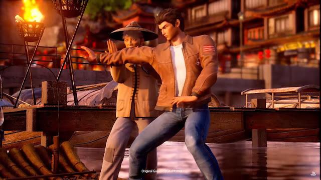 Screen grab from the Shenmue: First Teaser video (Gamescom 2017) showing Ryo on a raft in the same area.