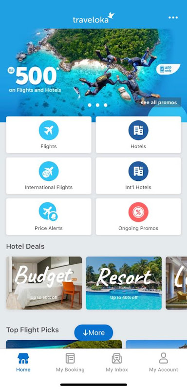 Find cheap flights using Traveloka