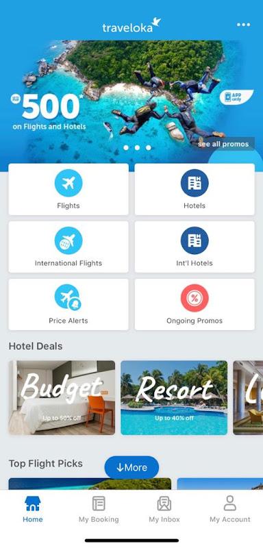 Find cheap flights using Traveloka