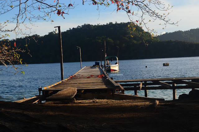 Pemandangan pagi di jetty Talaip Homestay, Raja Ampat +jelajahkeluargasuwanto
