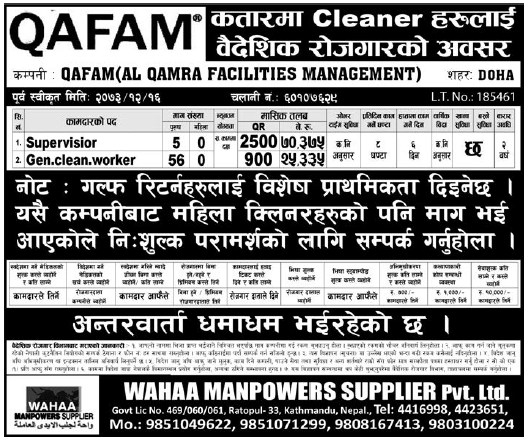 Jobs in Qatar for Nepali, Salary Rs 70,375