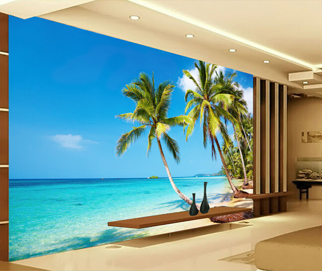 Tropical Wall Murals Beach Ocean 3D Photo Wallpaper Palm Tree Living Room