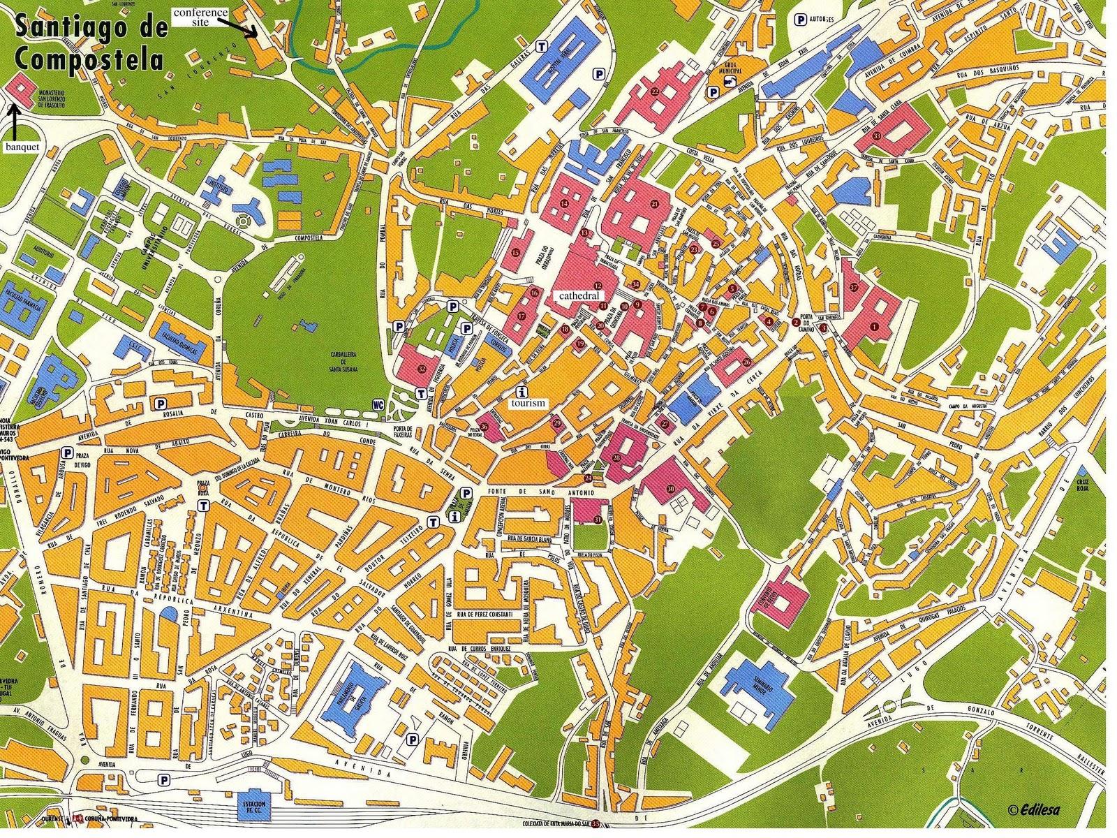 Callejero Mapa De Santiago De Compostela.Blog Da Clase Santiago De Compostela