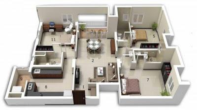 Denah 3D Rumah 3 Kamar Tidur.
