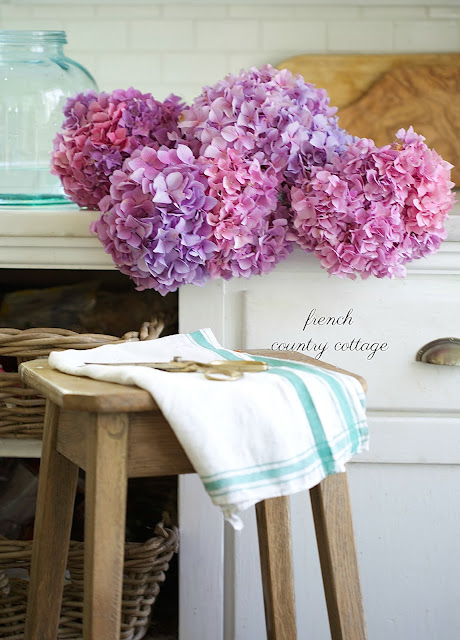 flowers on counter in kitchen