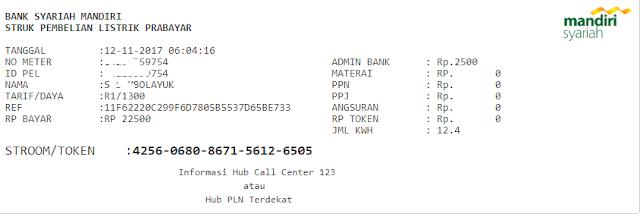 Contoh Print Out Struk Token PLN TOP AUto Payment