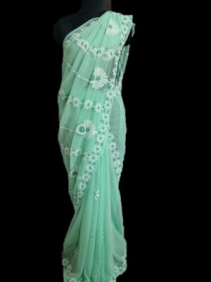Green Chikankari Saree