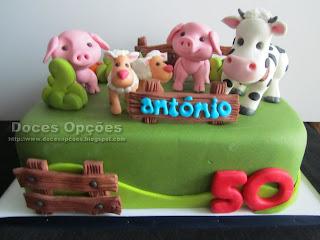 bolo aniversário animais quinta