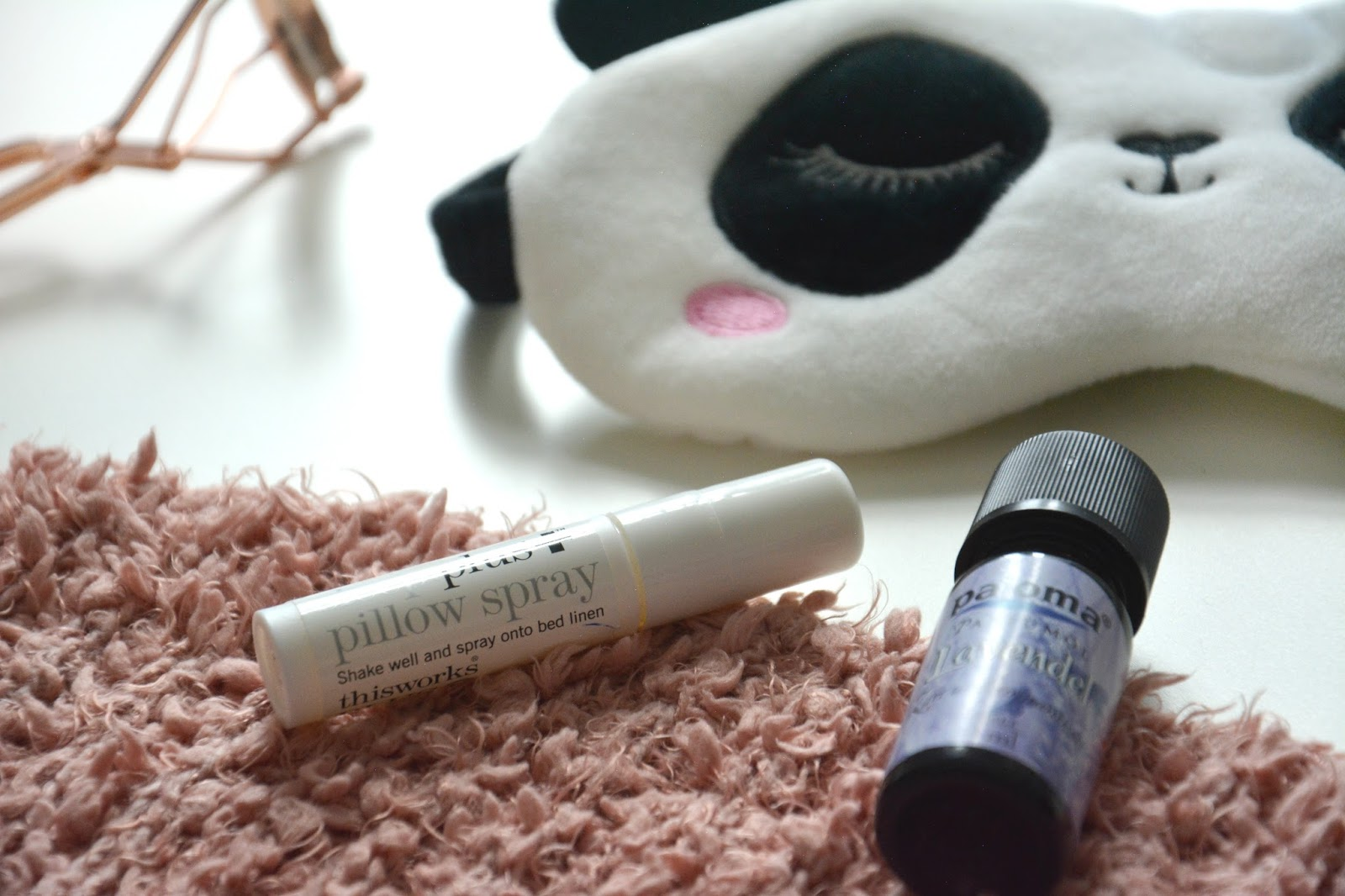 Primark Rose Gold Eyelash Curler; Primark Panda Sleep Mask; This Works Sleep Plus Pillow Spray