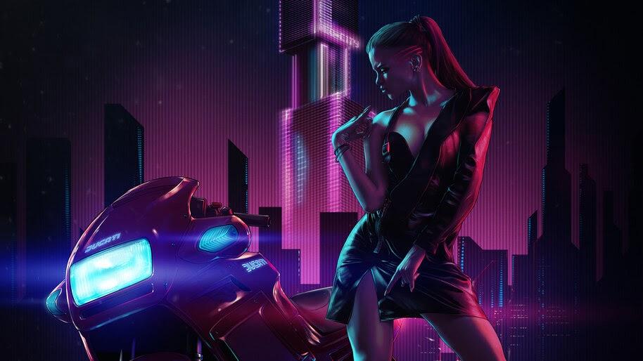 Biker, Girl, Sci-Fi, Digital Art, 4K, #4.2056