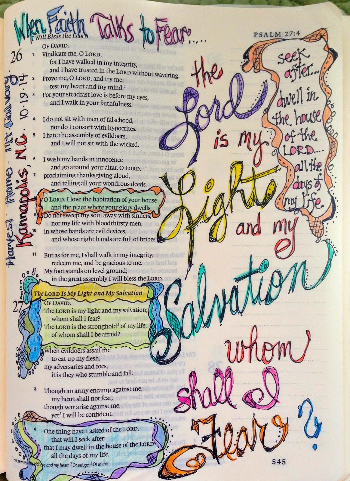Vintage Grace Bible Marginalia Whom Shall I Fear