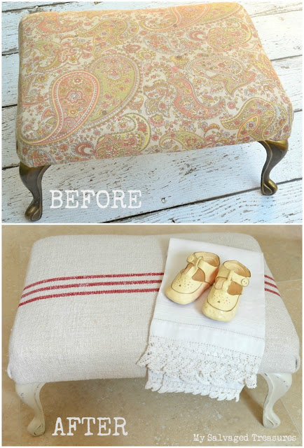 before and after vintage footstool with grain sack fabric
