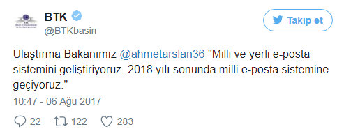 BTK Milli e-posta servisi ile ilgili tweeti