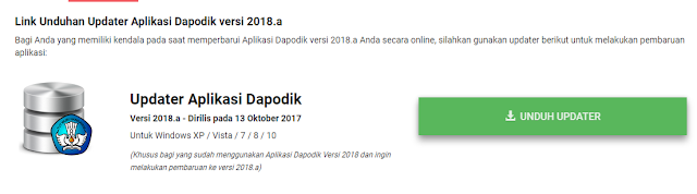 Download Updater Dapodik 2018a Rilis 13 Oktober 2017