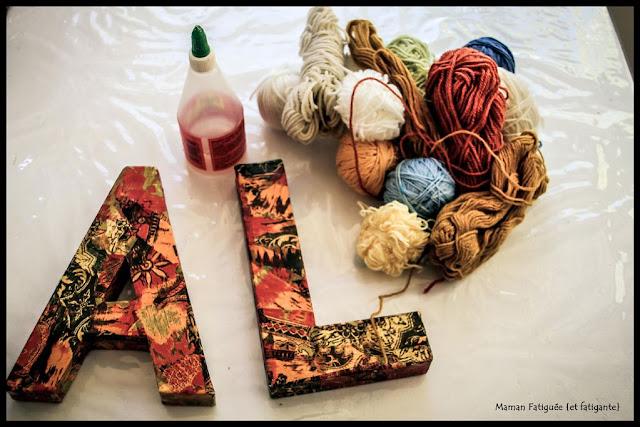 lettre laine art jeu enfant