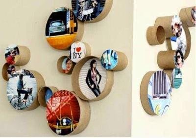Bingkai foto kreatif terbuat dari potongan kertas bekas tissuer roll