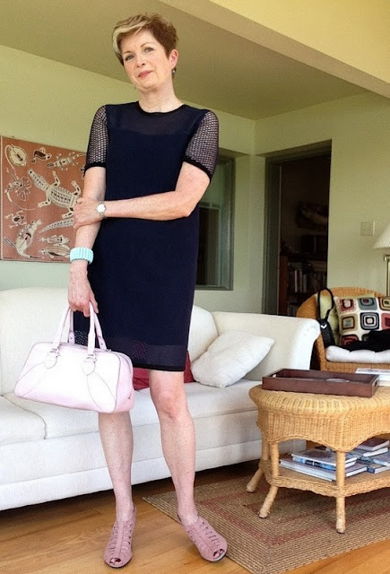 Rag and Bone Luna shift dress, Munro sandals, Cole Haan bag..