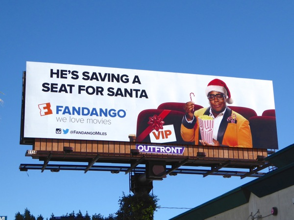 Fandango saving a seat for Santa billboard