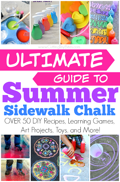 Ultimate Guide to Summer Sidewalk Chalk. Tons of Activities for Kids -- DIY Recipes, Learning Games, Playful Games, Art Projects, Indoor Options, Toys, and More!